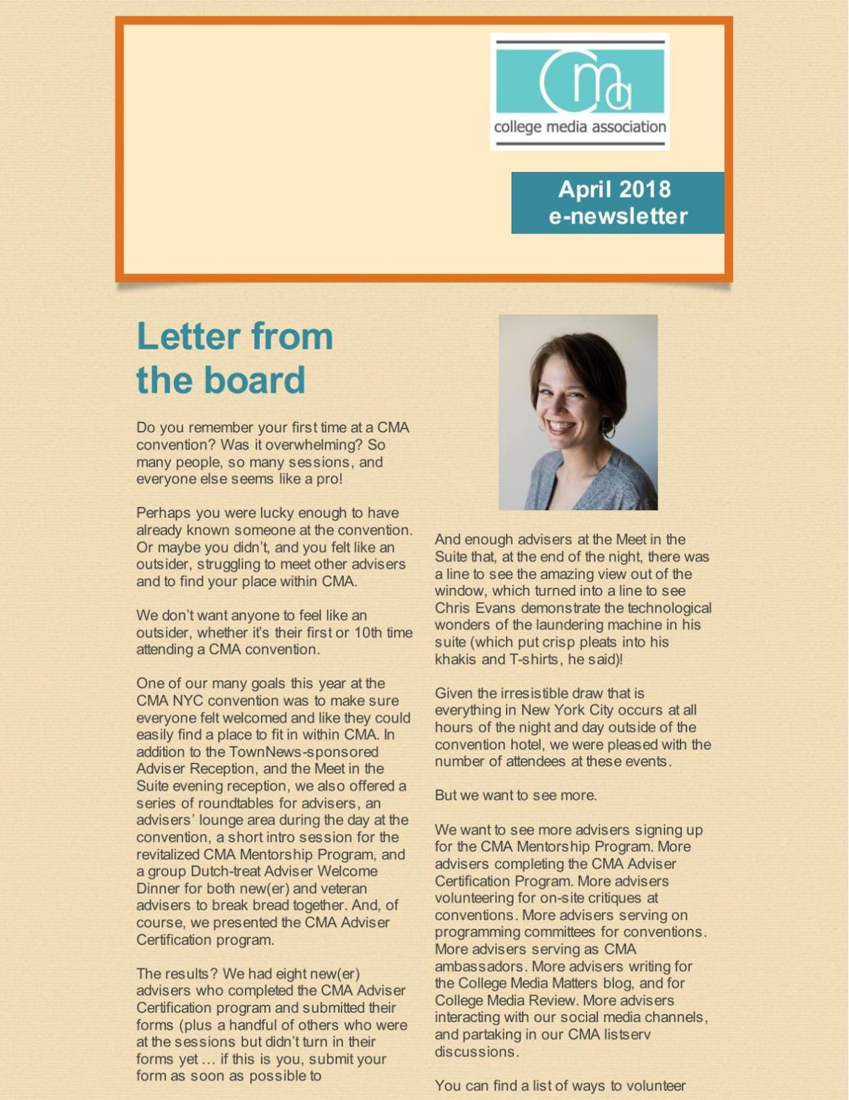 CMA April 2018 Newsletter