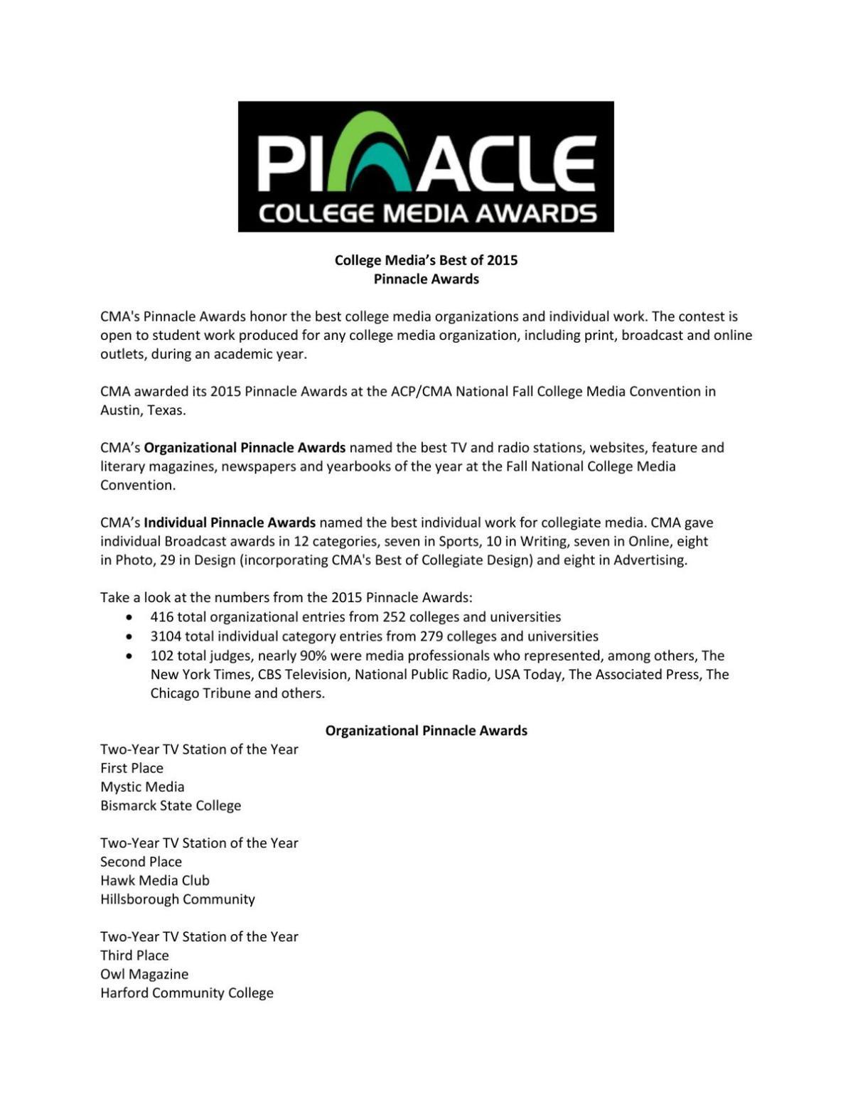 2015 Pinnacle Winners | 2015 Pinnacle Winners | collegemedia org