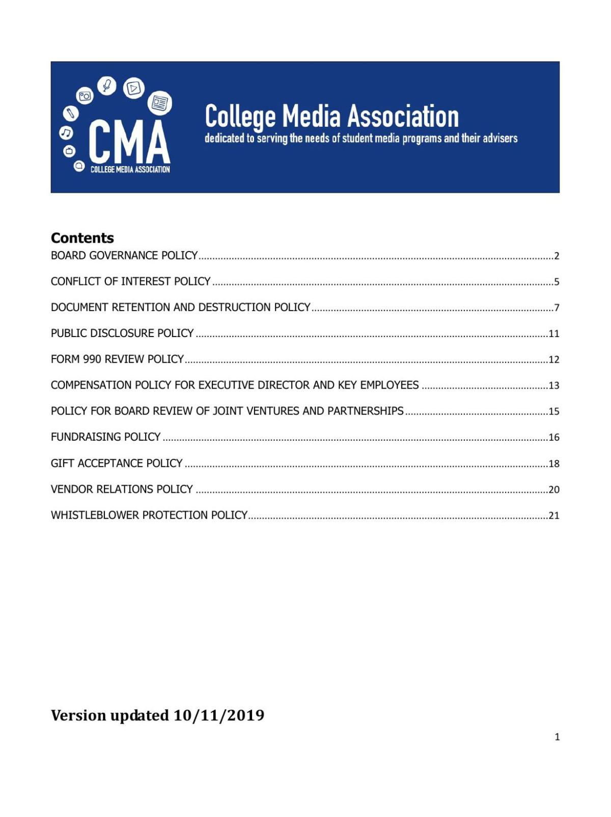 CMA Corporate Policies