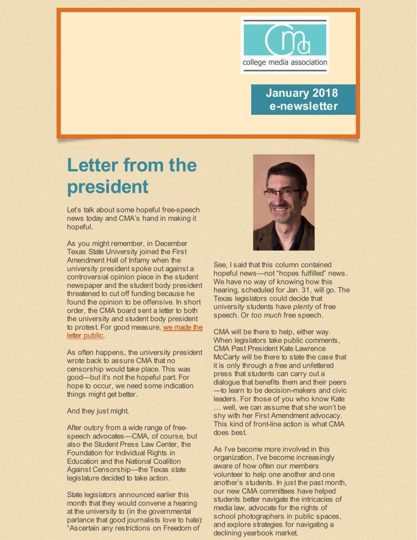 January 2018 E-Newsletter