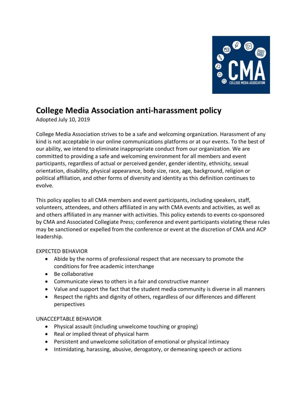 CMA Anti-Harassment Policy