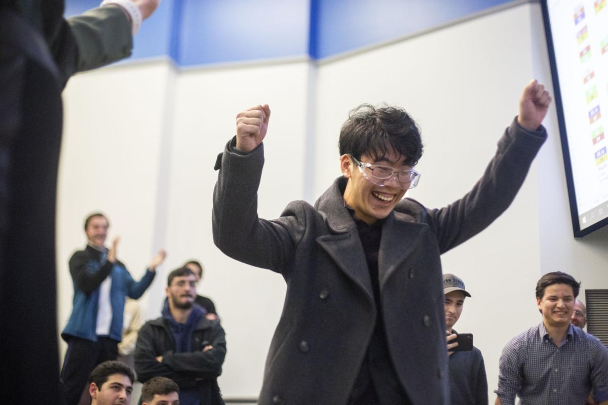 ME 340 Robot Competition, Zhu Celebrates