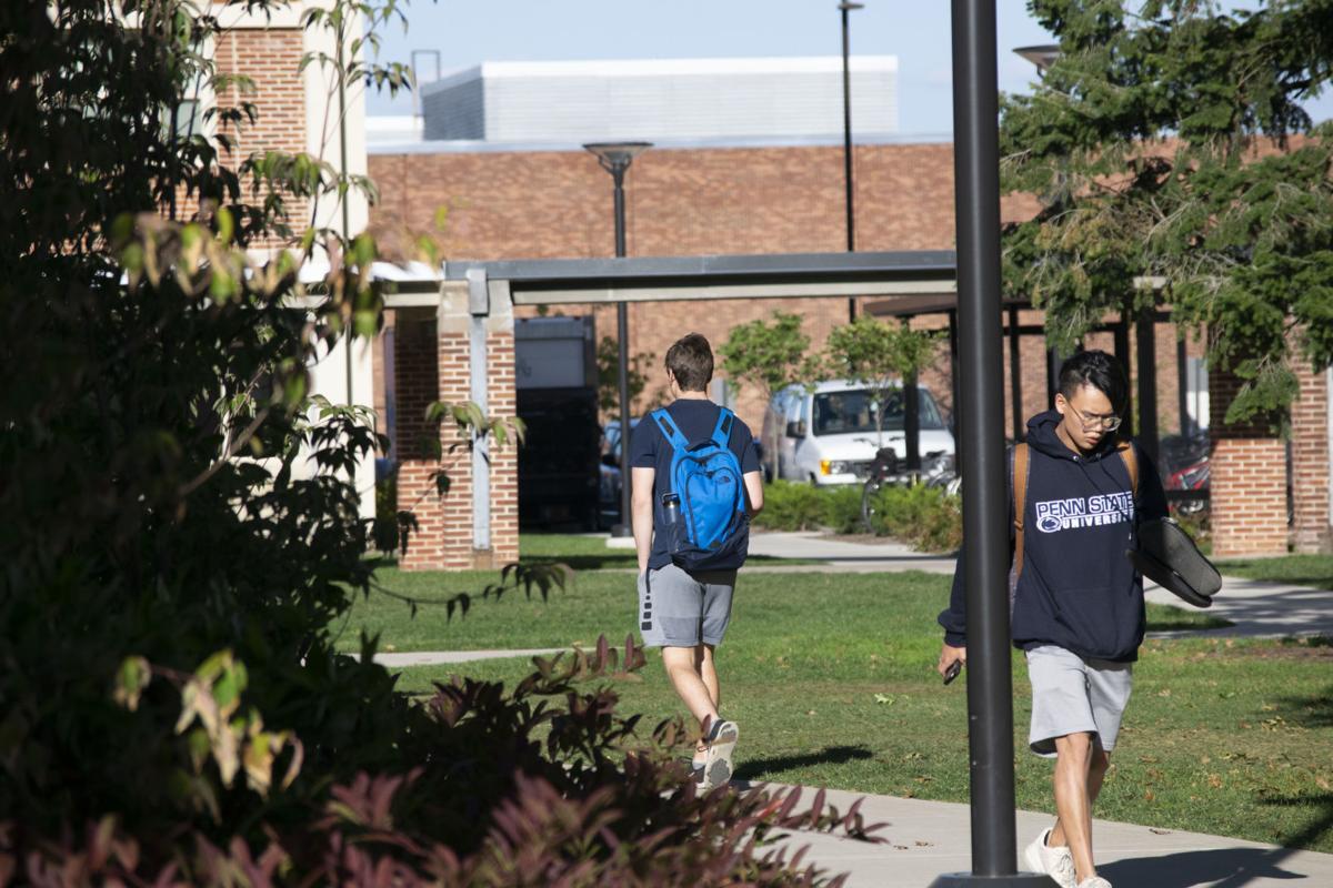 East Halls, students walking