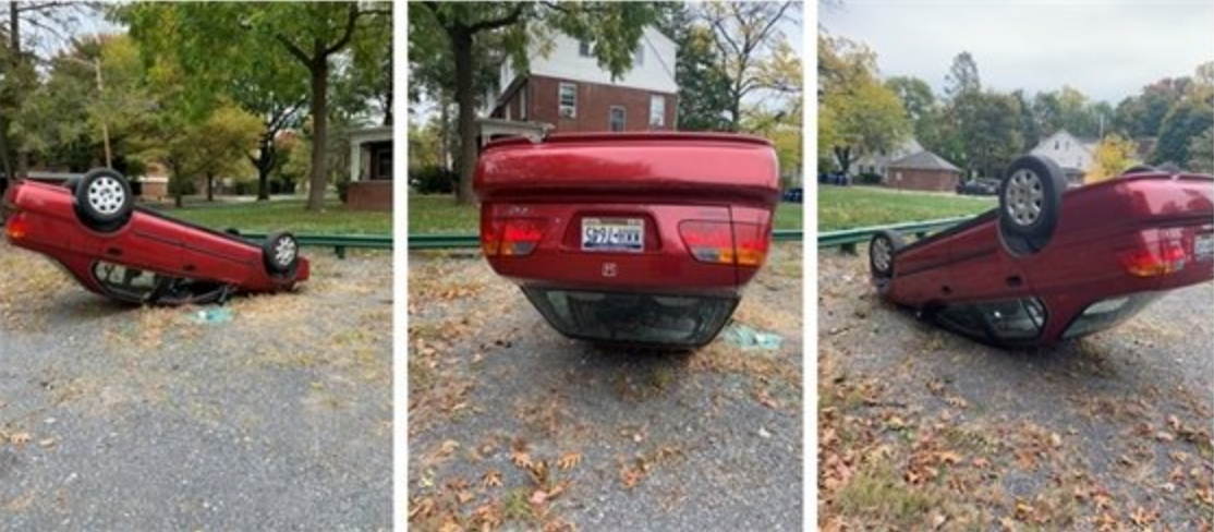 State College Police seek public assistance identifying individuals who flipped vehicle