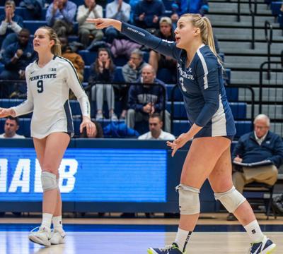 Penn State women's volleyball NCAA first round vs Princeton, Kendall White (3) celebrates