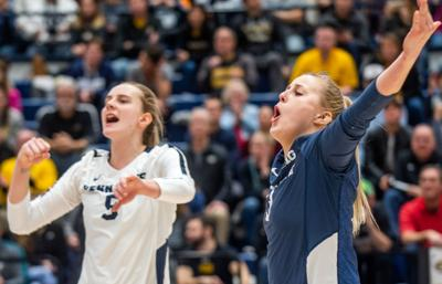 Penn State women's volleyball NCAA second round vs Towson, Kendall White (3) and Jonni Parker (9) celebrate