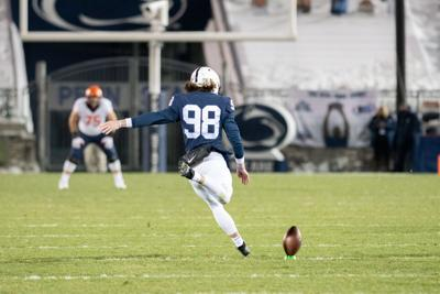 Penn State football vs. Illinois, Jordan Stout (98) kicks off