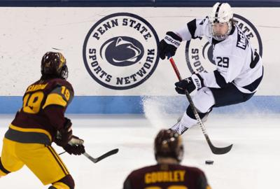Penn State Men's Hockey vs. Arizona State, Connor MacEachern (29) Skates with Puck
