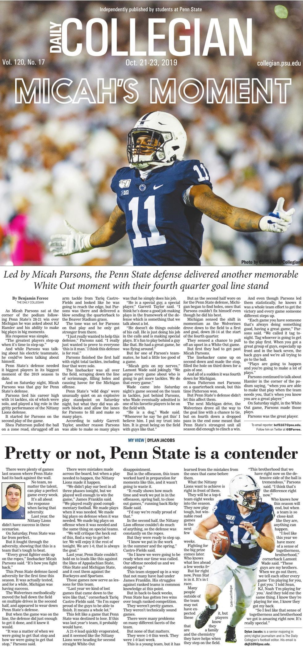 The Daily Collegian for Oct. 21, 2019