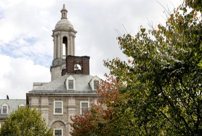 Old Main, fall leaves