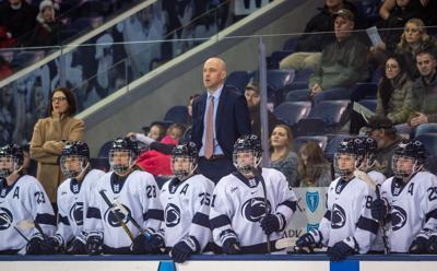 Penn State women's hockey vs Robert Morris, head coach Jeff Kampersal