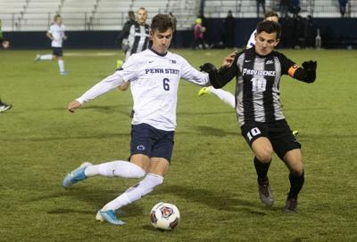 Men's Soccer vs Providence, Privett (6) Controls Ball