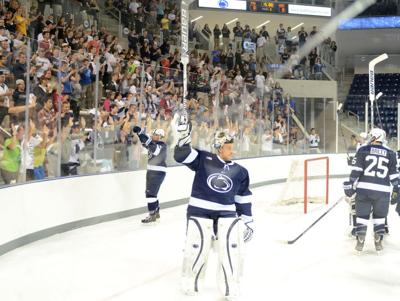 Players raise sticks to fans