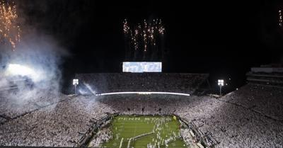Football vs. Michigan, team entrance and fireworks