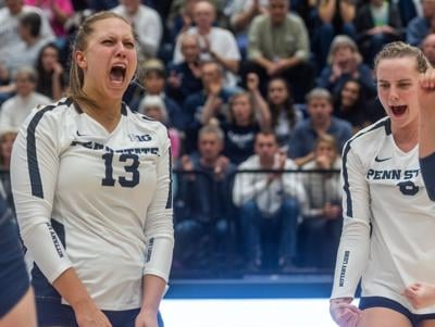Penn State women's volleyball vs Purdue, Gabby Blossom (13) and Jonni Parker (9) celebrate