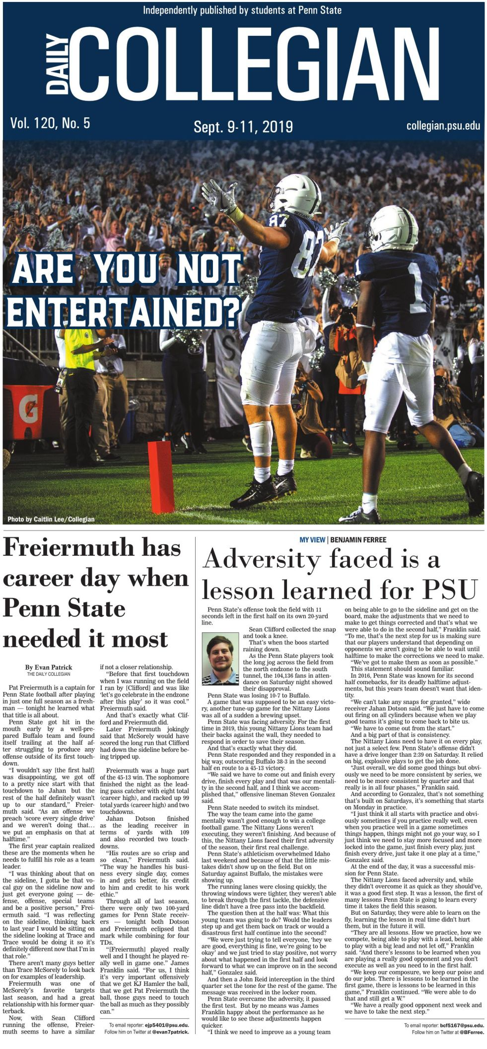 The Daily Collegian for Sept. 9, 2019