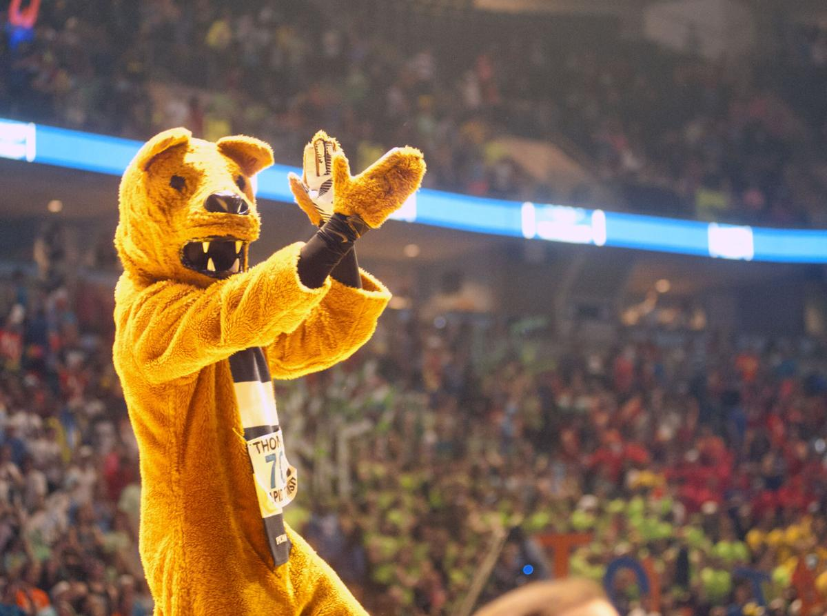 Nittany Lion on stage