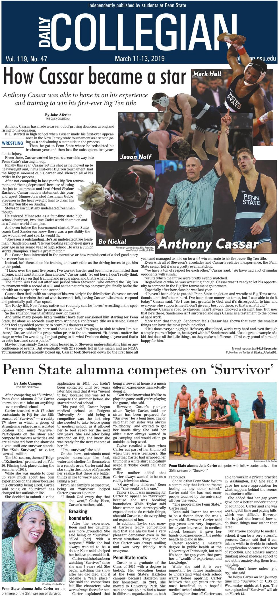 The Daily Collegian for March 11, 2019