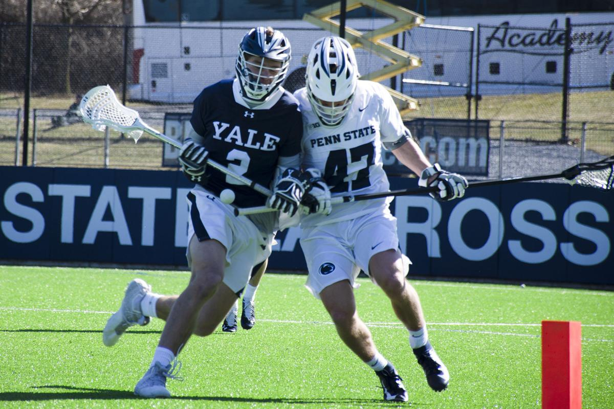 "Penn State Men's Lacross Vs Yale, Funk (47) Collides with Yale""s Soelberg (2)"