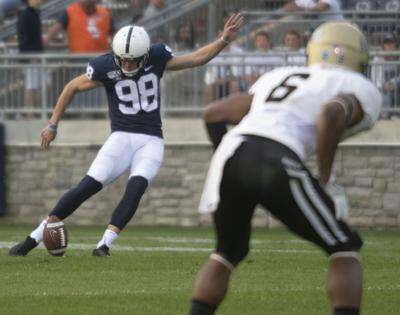 SEE IT: Penn State football kicker Jordan Stout hits video board in AT&T Stadium