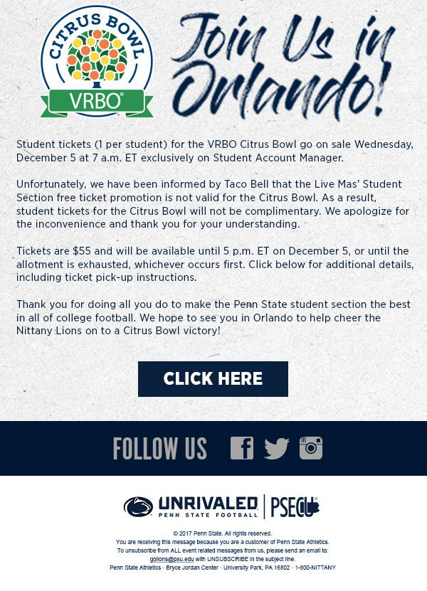 Free Tickets Available For Students To >> Free Student Tickets Not Available For Citrus Bowl Penn State