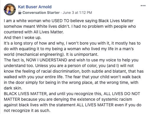Black Lives Matter Facebook comment