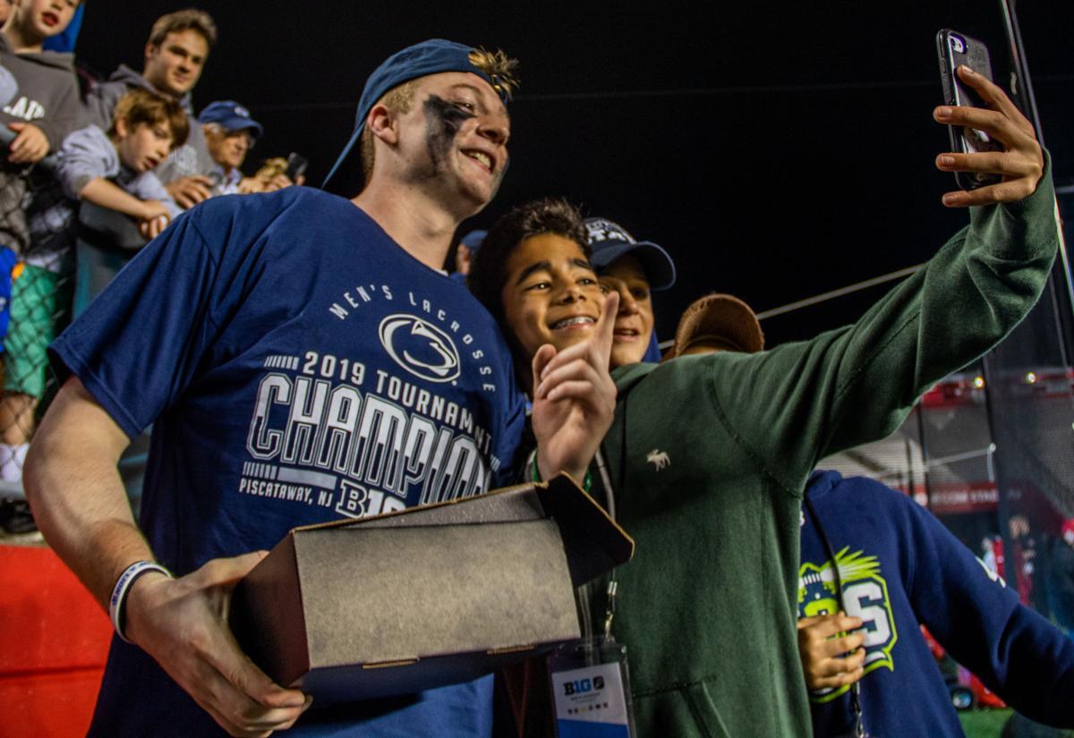 B1G men's lacrosse championship, Penn State vs John's Hopkins, Mac O'Keefe (3) selfie
