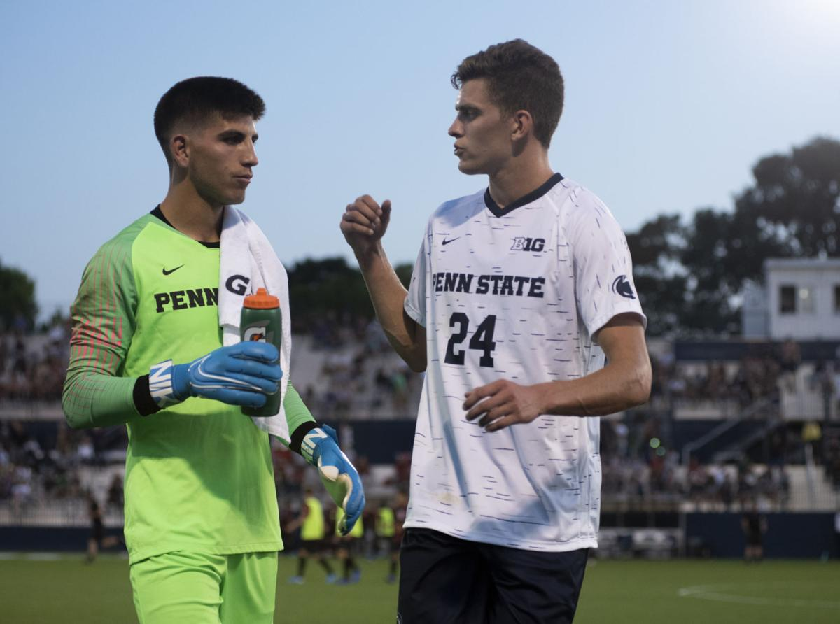 Men's soccer vs. Stanford, Levine (1) and Sload (24)
