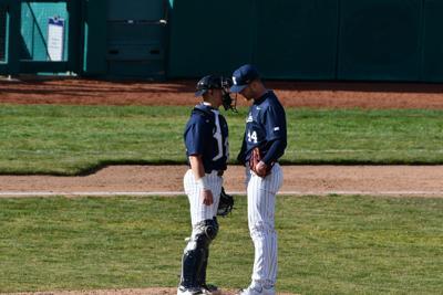 Baseball PSU vs. Michigan Josh Siegel (41) and Bailey Dees (44)