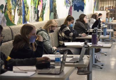 Students Studying in HUB