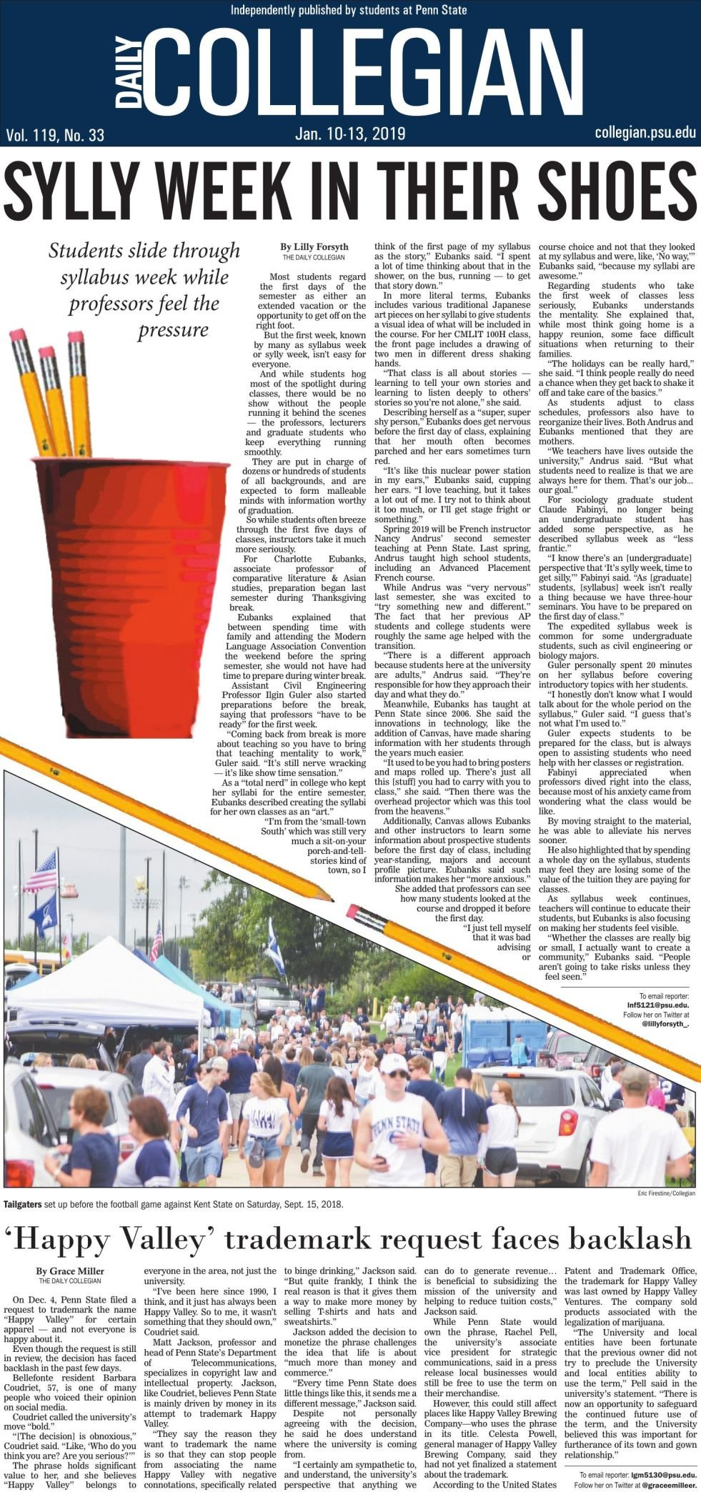 The Daily Collegian for Jan. 10, 2019