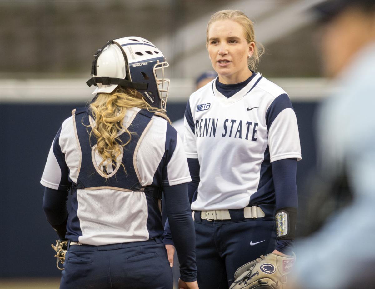 softball, Michigan, Jessica Cummings (1) and Kennedy Legg (5)