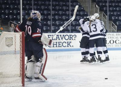 Women's Ice Hockey vs. Robert Morris, Celebrates after scoring