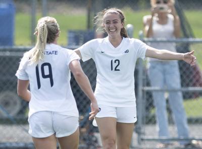 Women's soccer vs. Michigan State, Linnehan (12) and Tagliaferri (19)