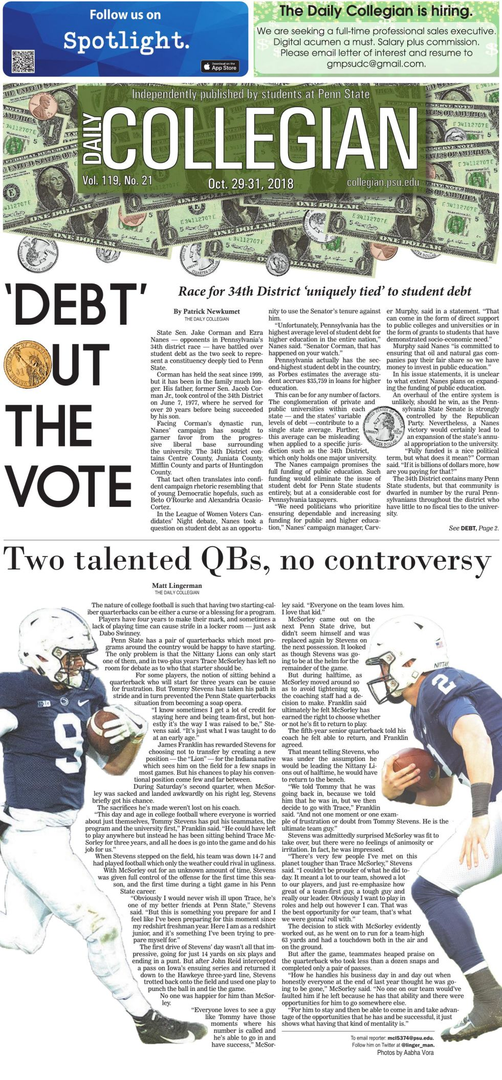 The Daily Collegian for Oct. 29, 2018