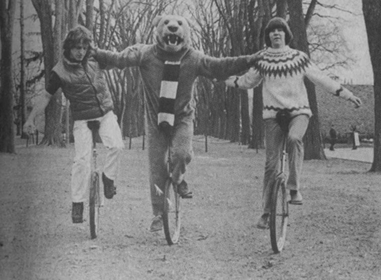 Throwback Thursday: Nittany Lion rides unicycle with friends