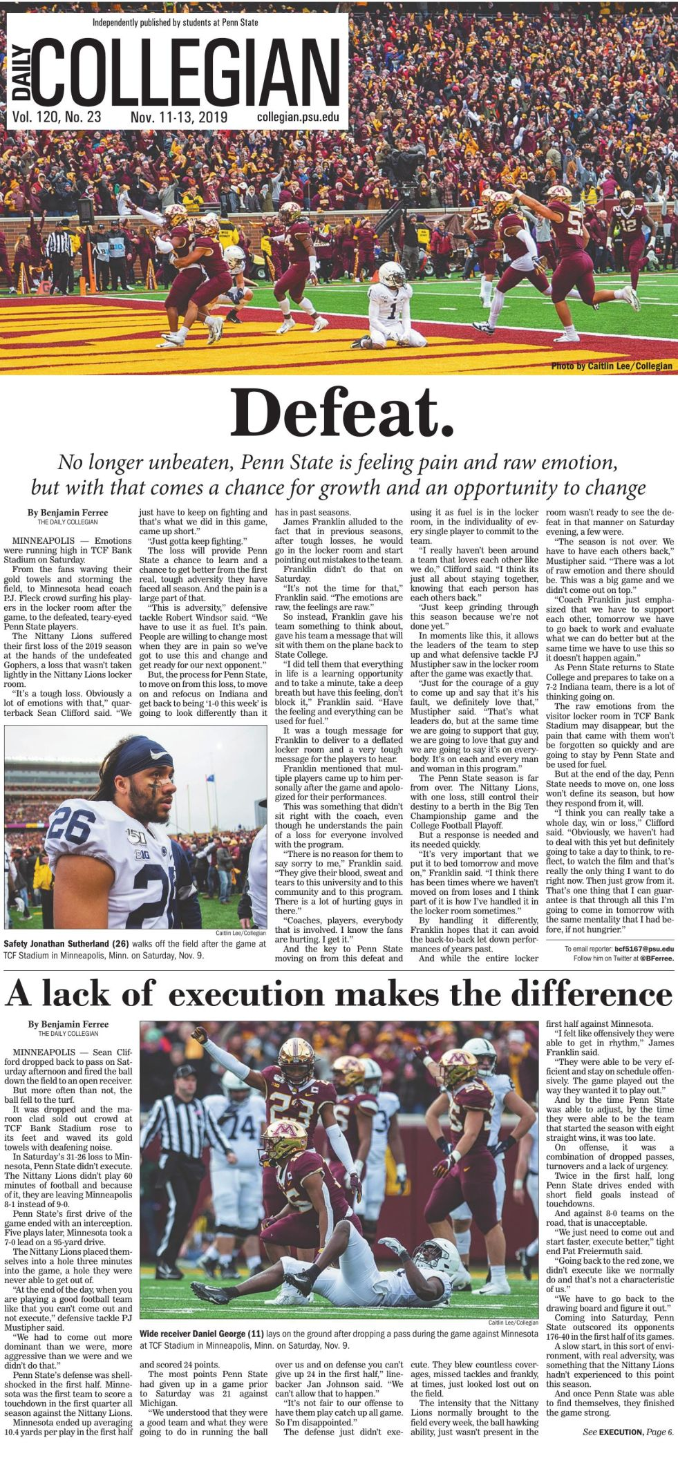The Daily Collegian for Nov. 11, 2019