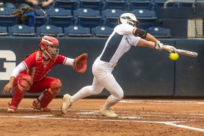 Penn State Softball vs Wisconsin, Claire Swedberg (23) bunt