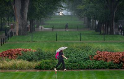 Student walks in the rain