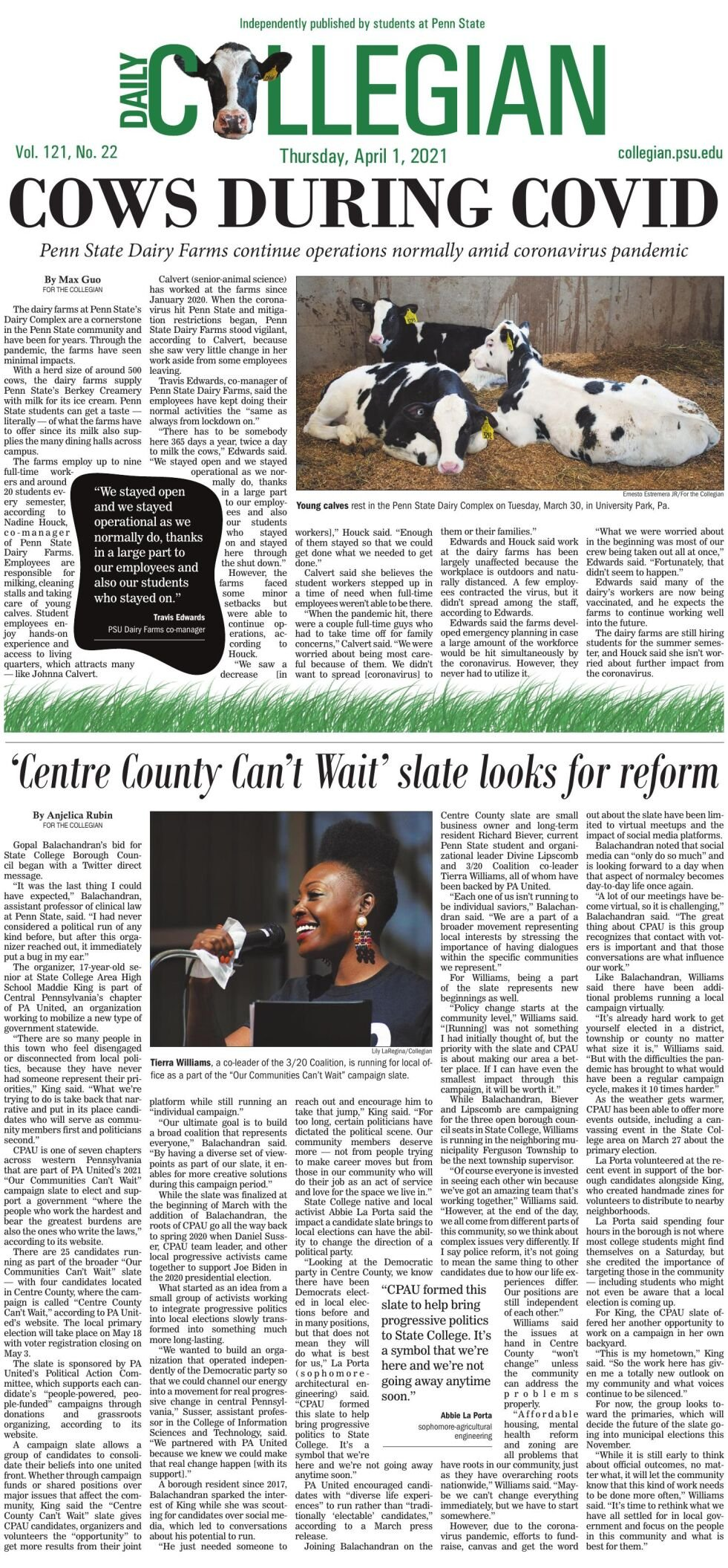 The Daily Collegian for April 1, 2021