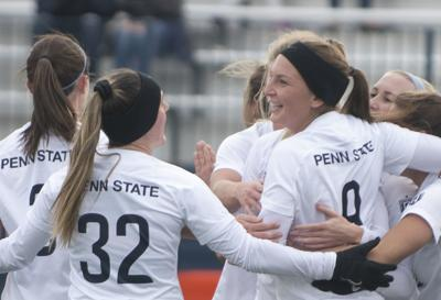 Women's Soccer vs Iowa, Wasserman (9) and Caniff (32)