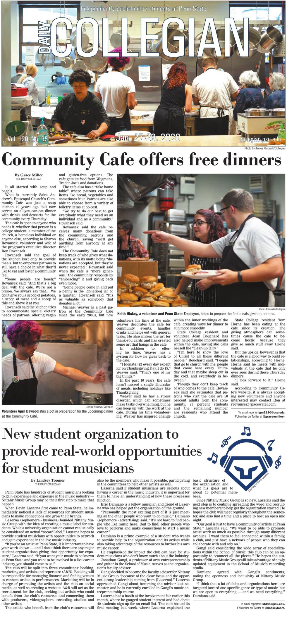 The Daily Collegian for Jan. 27, 2020