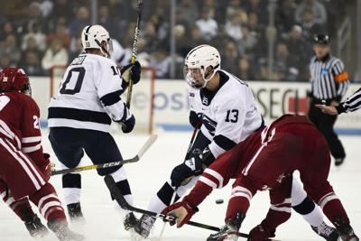 Men's Hockey vs. Wisconsin, Pavlychev (13) Yells