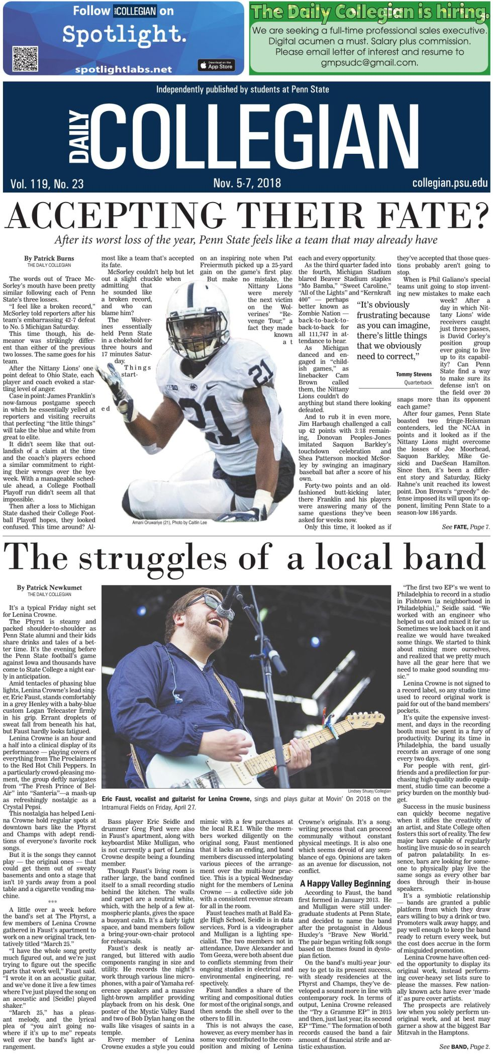 The Daily Collegian for Nov. 5, 2018