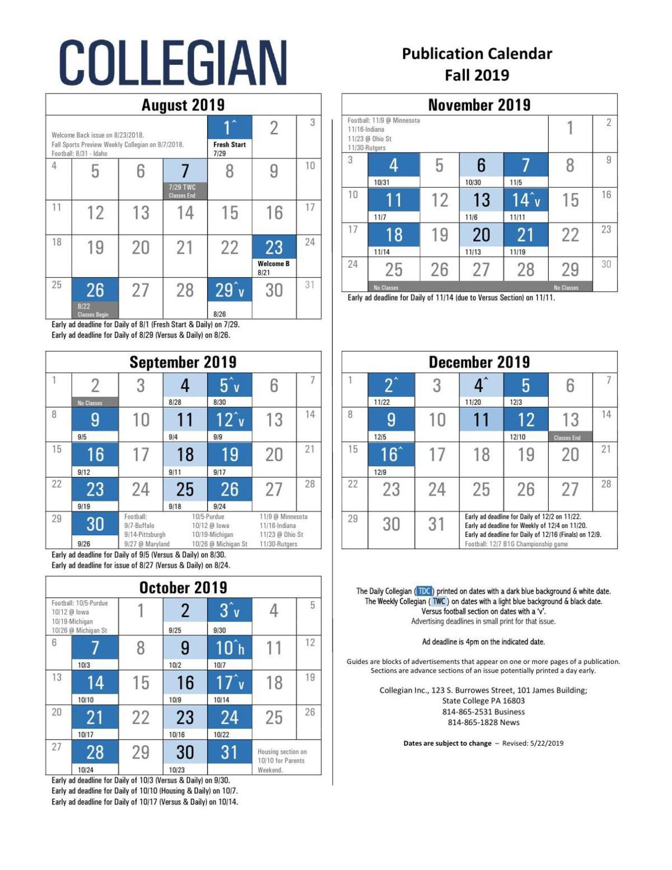 Psu Calendar 2019 Collegian publication calendar for Fall 2019 | Advertising