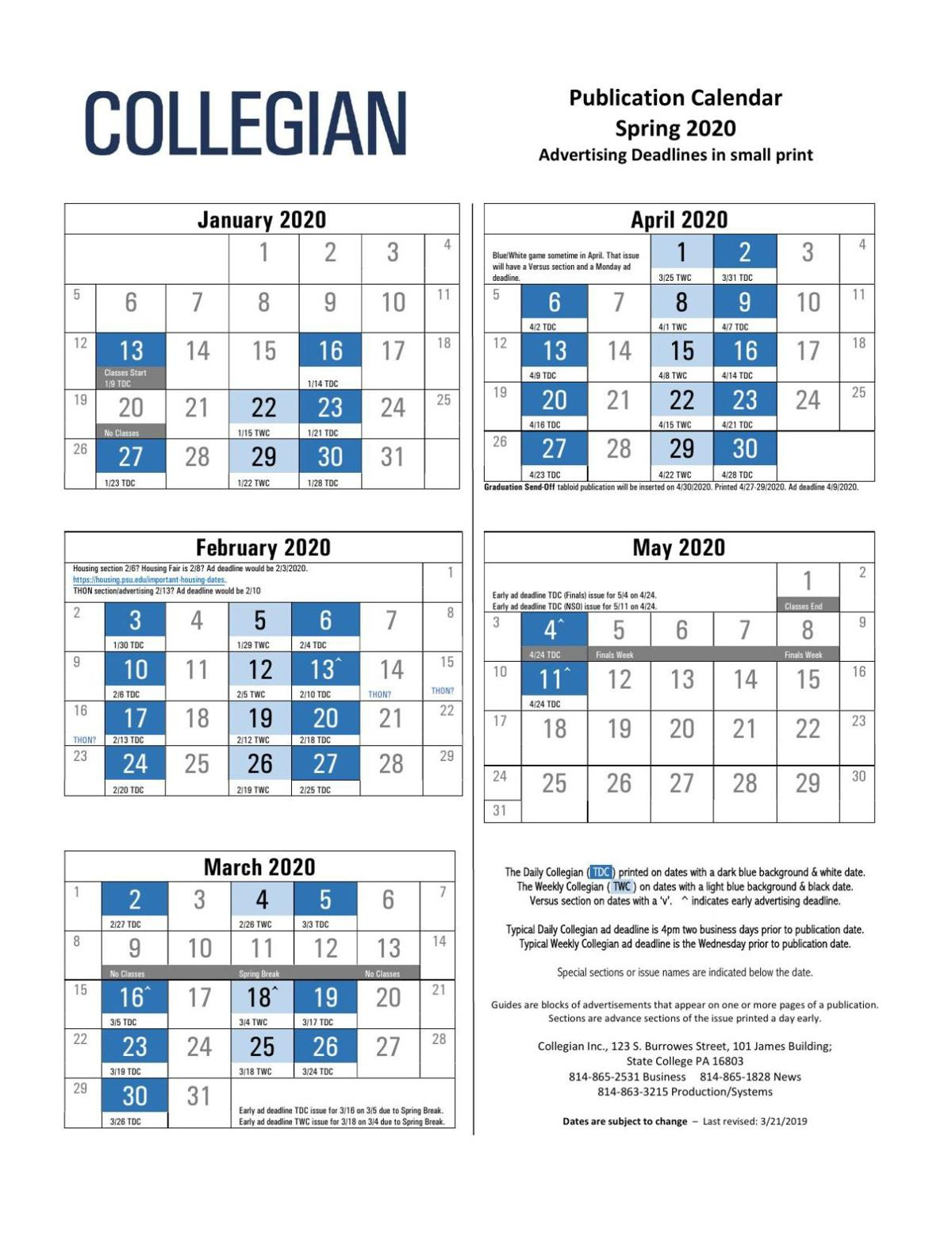 Psu Spring 2020 Calendar Collegian publication calendar for Spring 2020 | Advertising