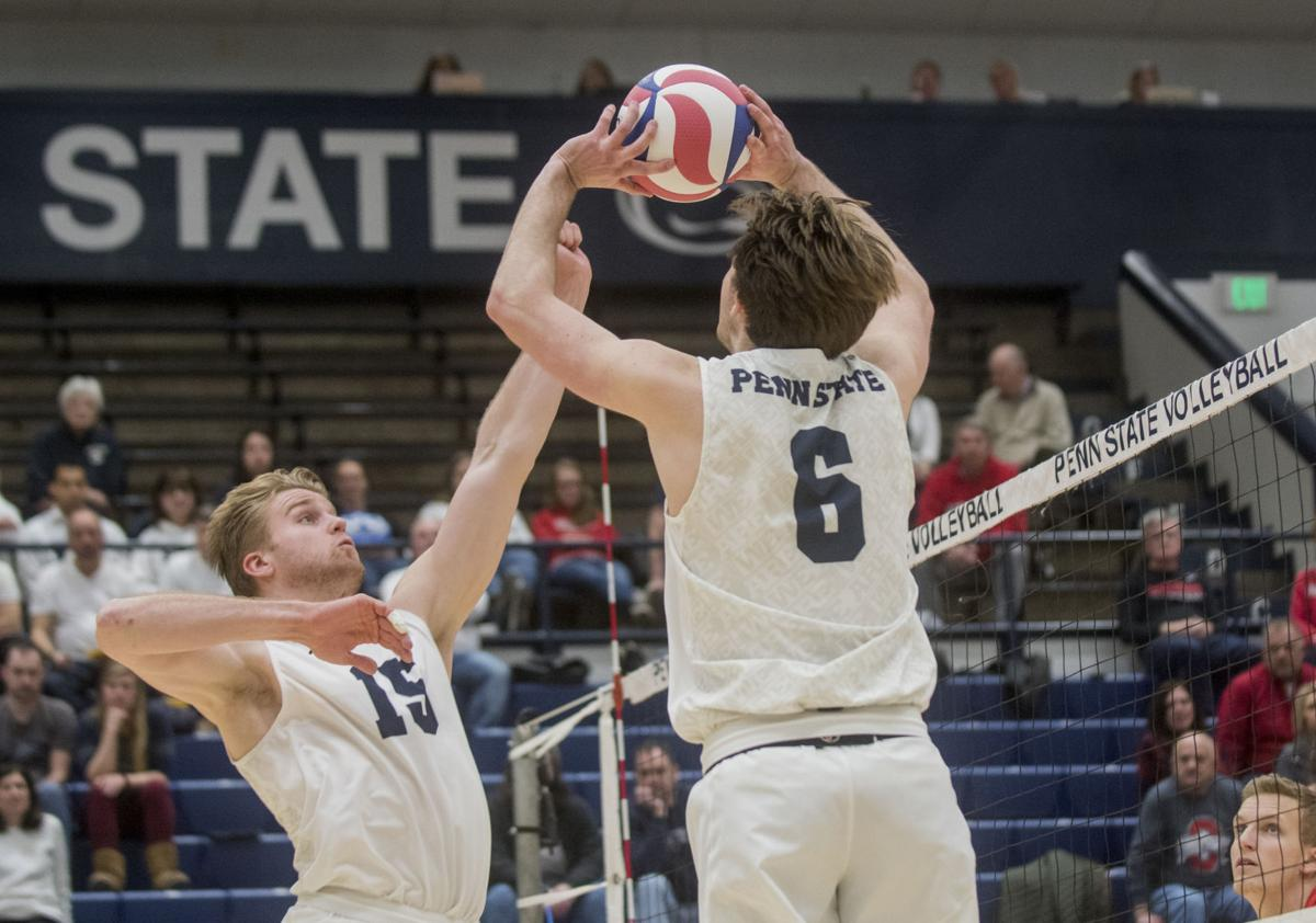 Men's Volleyball vs. Ohio State, Bogner (6) and Tuman (15)
