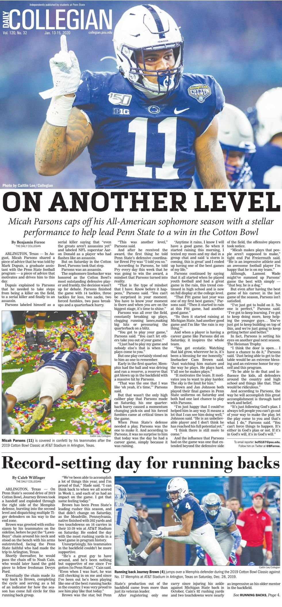 The Daily Collegian for Jan. 13, 2020