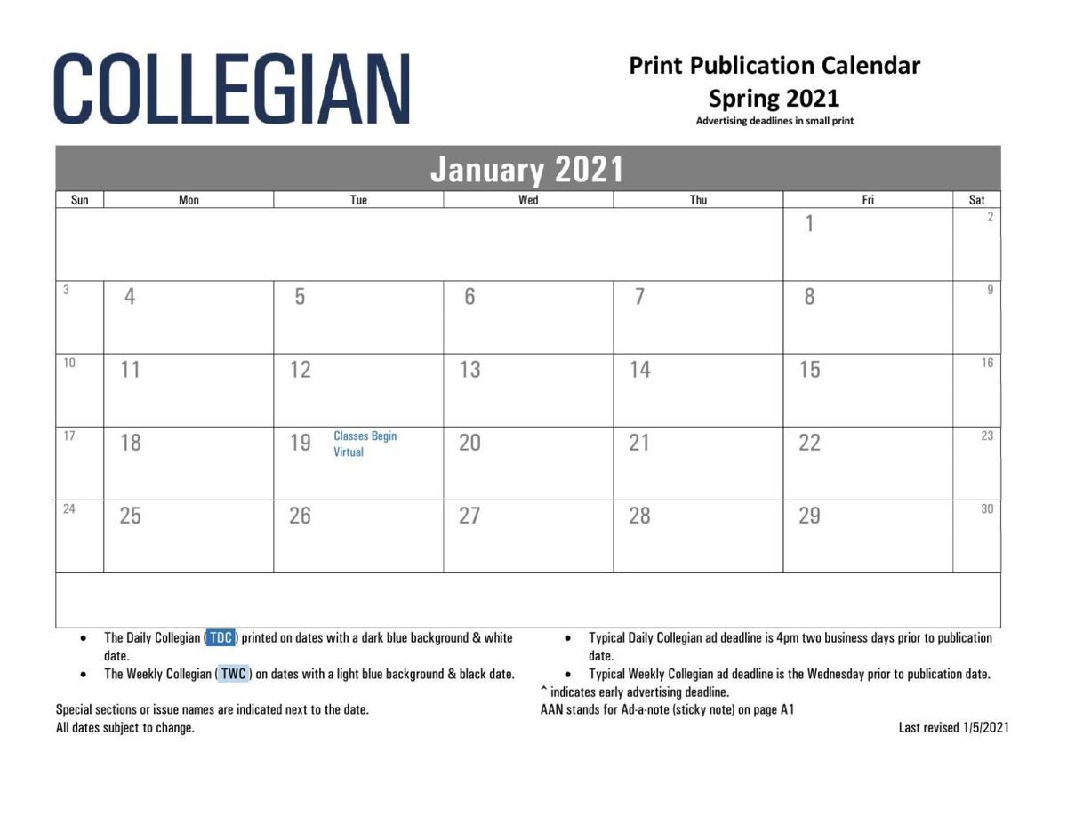 Spring 2021 Psu Calendar Collegian publication calendar for Spring 2021   Advertising
