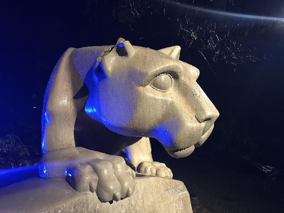 the nittany lion shrines ear suffered damage and police are investigating the incident